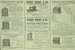 Advert for George Whight & Co, reverse side